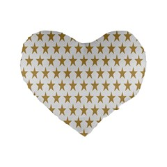Star Background Gold White Standard 16  Premium Flano Heart Shape Cushions by Onesevenart