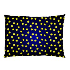 Star Christmas Red Yellow Pillow Case by Onesevenart