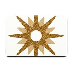 Star Golden Glittering Yellow Rays Small Doormat  by Onesevenart