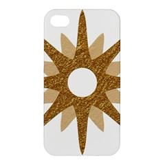 Star Golden Glittering Yellow Rays Apple Iphone 4/4s Premium Hardshell Case by Onesevenart