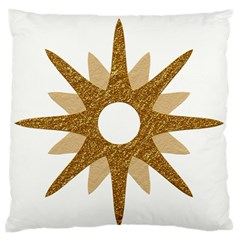 Star Golden Glittering Yellow Rays Large Flano Cushion Case (one Side) by Onesevenart