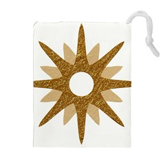 Star Golden Glittering Yellow Rays Drawstring Pouches (extra Large) by Onesevenart