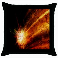 Star Sky Graphic Night Background Throw Pillow Case (black) by Onesevenart