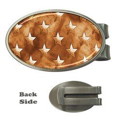 Stars Brown Background Shiny Money Clips (oval)  by Onesevenart