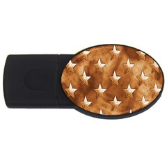 Stars Brown Background Shiny Usb Flash Drive Oval (4 Gb) by Onesevenart