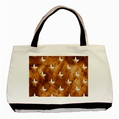 Stars Brown Background Shiny Basic Tote Bag (two Sides) by Onesevenart
