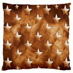 Stars Brown Background Shiny Large Flano Cushion Case (one Side) by Onesevenart