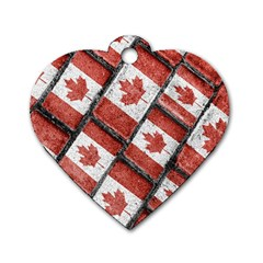 Canadian Flag Motif Pattern Dog Tag Heart (one Side) by dflcprints