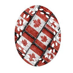 Canadian Flag Motif Pattern Oval Filigree Ornament (two Sides) by dflcprints
