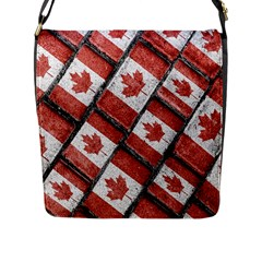 Canadian Flag Motif Pattern Flap Messenger Bag (l)  by dflcprints