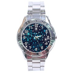 Wallpaper Background Abstract Stainless Steel Analogue Watch by Onesevenart