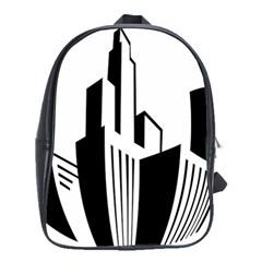 Tower City Town Building Black White School Bag (large) by Jojostore