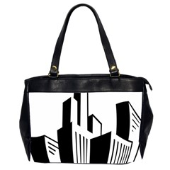 Tower City Town Building Black White Office Handbags (2 Sides)  by Jojostore