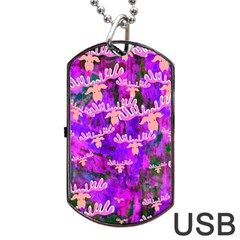 Watercolour Paint Dripping Ink Dog Tag Usb Flash (one Side) by Onesevenart