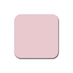 Red Line Plaid Vertical Horizon Rubber Coaster (square)  by Jojostore