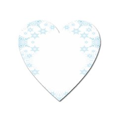 The Background Snow Snowflakes Heart Magnet by Onesevenart