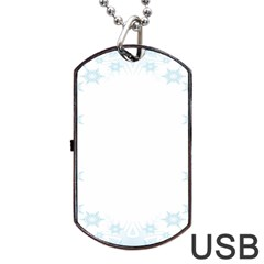 The Background Snow Snowflakes Dog Tag Usb Flash (one Side) by Onesevenart