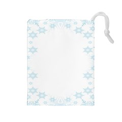 The Background Snow Snowflakes Drawstring Pouches (large)  by Onesevenart