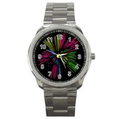 Fireworks Pink Red Yellow Green Black Sky Happy New Year Sport Metal Watch by Jojostore