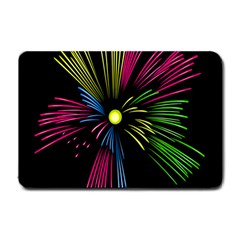 Fireworks Pink Red Yellow Green Black Sky Happy New Year Small Doormat  by Jojostore