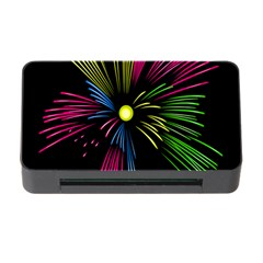 Fireworks Pink Red Yellow Green Black Sky Happy New Year Memory Card Reader With Cf by Jojostore