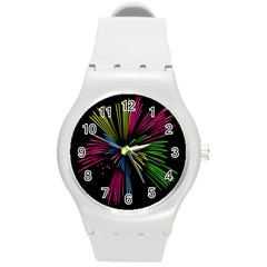 Fireworks Pink Red Yellow Green Black Sky Happy New Year Round Plastic Sport Watch (m) by Jojostore