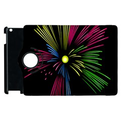 Fireworks Pink Red Yellow Green Black Sky Happy New Year Apple Ipad 3/4 Flip 360 Case by Jojostore