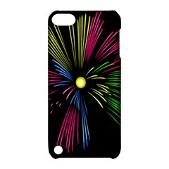 Fireworks Pink Red Yellow Green Black Sky Happy New Year Apple Ipod Touch 5 Hardshell Case With Stand by Jojostore
