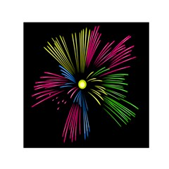 Fireworks Pink Red Yellow Green Black Sky Happy New Year Small Satin Scarf (square) by Jojostore