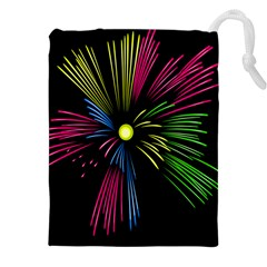 Fireworks Pink Red Yellow Green Black Sky Happy New Year Drawstring Pouches (xxl) by Jojostore