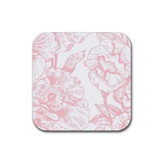 Vintage Pink Floral Rubber Square Coaster (4 Pack)  by 8fugoso