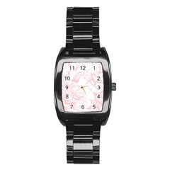 Vintage Pink Floral Stainless Steel Barrel Watch by 8fugoso