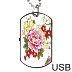 Butterfly Flowers Rose Dog Tag Usb Flash (two Sides) by Jojostore