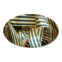 Ribbons Black Yellow Oval Magnet by Jojostore