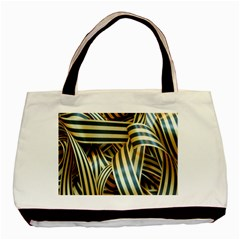 Ribbons Black Yellow Basic Tote Bag (two Sides) by Jojostore