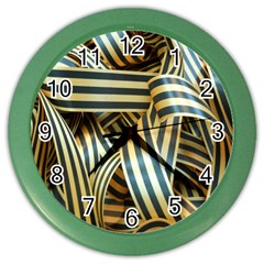 Ribbons Black Yellow Color Wall Clocks by Jojostore