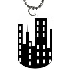 Tower City Town Building Black Dog Tag (two Sides) by Jojostore