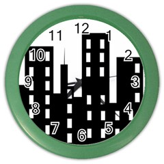 Tower City Town Building Black Color Wall Clocks by Jojostore