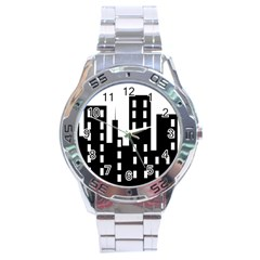 Tower City Town Building Black Stainless Steel Analogue Watch by Jojostore