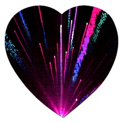 Happy New Year City Semmes Fireworks Rainbow Red Blue Purple Sky Jigsaw Puzzle (heart) by Jojostore