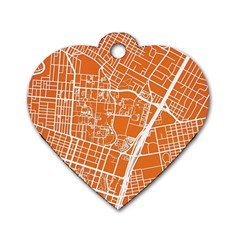Texsas New York Map Art City Line Street Dog Tag Heart (two Sides) by Jojostore