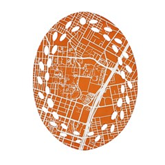 Texsas New York Map Art City Line Street Oval Filigree Ornament (two Sides) by Jojostore
