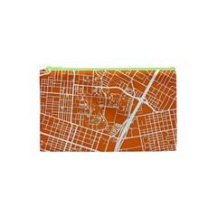 Texsas New York Map Art City Line Street Cosmetic Bag (xs) by Jojostore