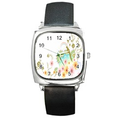 Wreaths Sexy Flower Star Leaf Rose Sunflower Bird Summer Square Metal Watch by Mariart