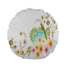 Wreaths Sexy Flower Star Leaf Rose Sunflower Bird Summer Standard 15  Premium Flano Round Cushions by Mariart