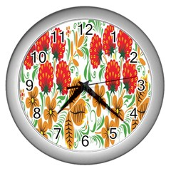 Flower Floral Red Yellow Leaf Green Sexy Summer Wall Clocks (silver)  by Mariart
