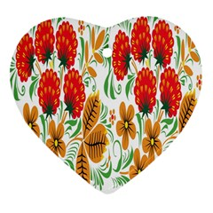 Flower Floral Red Yellow Leaf Green Sexy Summer Heart Ornament (two Sides) by Mariart