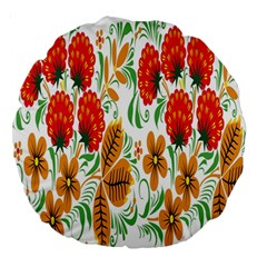 Flower Floral Red Yellow Leaf Green Sexy Summer Large 18  Premium Round Cushions by Mariart