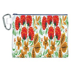 Flower Floral Red Yellow Leaf Green Sexy Summer Canvas Cosmetic Bag (xxl) by Mariart