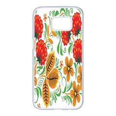 Flower Floral Red Yellow Leaf Green Sexy Summer Samsung Galaxy S7 Edge White Seamless Case by Mariart